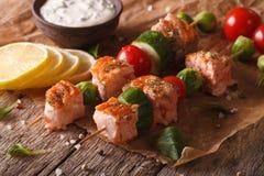Kebablax, grönsaker och tartarsåsnärbild horisontal Royaltyfri Foto