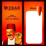 Kebabmeny royaltyfri illustrationer