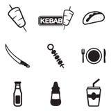 Kebabpictogrammen Stock Afbeeldingen
