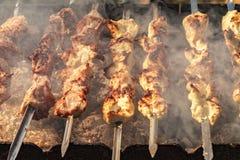 Kebabs στον καπνό σχαρών Στοκ εικόνες με δικαίωμα ελεύθερης χρήσης