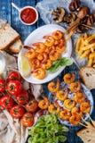 Kebabs креветки BBQ пряные Стоковое Фото