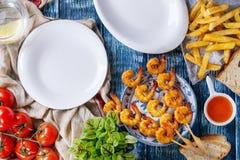 Kebabs креветки BBQ пряные Стоковая Фотография RF
