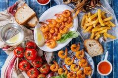Kebabs креветки BBQ пряные Стоковые Фотографии RF