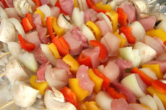 Kebabs. Some delicious fresh kebabs ready for cooking stock photo
