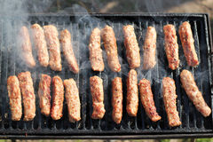 Kebabs On Barbecue Grill. Tasty meat roasted on a grill Stock Photography