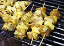 Kebabs bij de barbecuegrill Stock Afbeeldingen