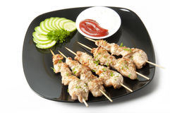 Kebabs from a chicken fillet. Skewers of chicken, very tasty Royalty Free Stock Image