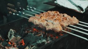 Kebabs are cooked on the grill. Shashlik, which is fried on the grill stock video footage