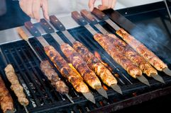 Kebabs cooking on the BBQ Royalty Free Stock Photography