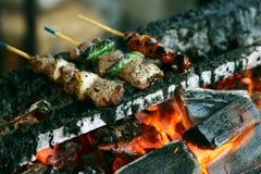 Kebabs crepitantes foto de stock royalty free