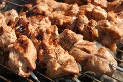 Kebabs da carne no BBQ Fotografia de Stock Royalty Free