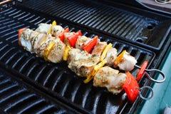 Kebabs da galinha e da pimenta no assado Fotografia de Stock