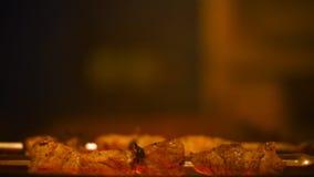Kebabs de la asación en la parrilla metrajes