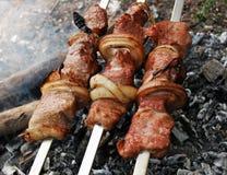 Kebabs de Shish en la parrilla imagen de archivo libre de regalías