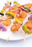 Kebabs del gambero e della verdura Fotografia Stock