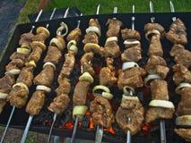 Kebabs en los pinchos imagen de archivo