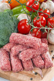 Kebabs. With fresh vegetables ready for barbecue Stock Images