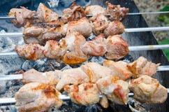 Kebabs grelhados do shish em skewers imagens de stock