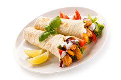 Kebabs - grilled meat and vegetables Stock Image