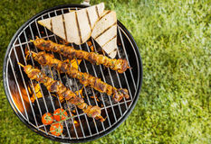 Kebabs grilling on a BBQ fire. View from above of two lamb, beef or pork kebabs with slices of toast and tomatoes grilling on a BBQ fire on a portable metal Stock Photography