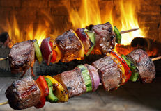 Kebabs op een vleespen Royalty-vrije Stock Foto