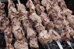 Kebabs over charcoal-1 Royalty Free Stock Images