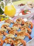 kebabs picnic owoce morza stół Obrazy Royalty Free