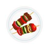 Kebabs on plate, roasted meat - lamb, pork. Cartoon flat style. Royalty Free Stock Photos