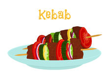 Kebabs on plate, roasted meat - lamb, pork. Cartoon flat style. Royalty Free Stock Images