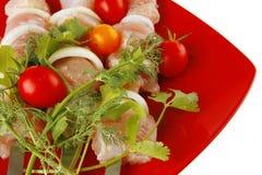 kebabs plate tjänad som red Royaltyfria Foton