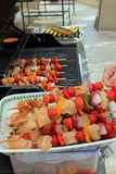 Kebabs ready to go on the BBQ Royalty Free Stock Images