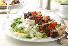 Kebabs and salad. A plate of chicken and beef kebabs and salad Royalty Free Stock Photo