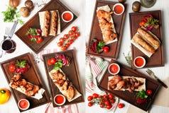 Kebabs Shish осматривают сверху верхние разные виды, ресторан Стоковые Фотографии RF