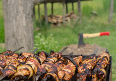 Kebabs sizzling over a hot BBQ fire Stock Image