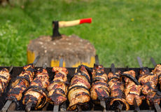 Kebabs sizzling over a hot BBQ fire Stock Photos