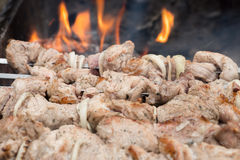 Kebabs on skewers cooked on the coals bbq fire Stock Image