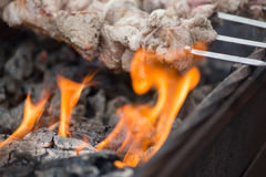 Kebabs on skewers cooked on the coals bbq fire Stock Photo