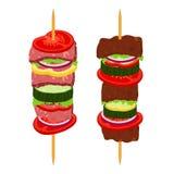 Kebabs on skewers, roasted meat - lamb, pork. Cartoon flat style. Stock Image
