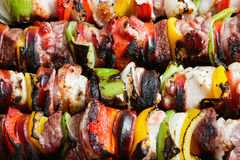 Kebabs. Stock image of close up of grilled beef and chicken kebabs Stock Photos