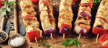 Kebabs with turkey fillet Royalty Free Stock Image