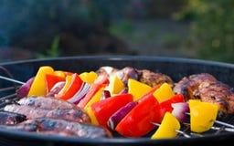 Kebabs vegetales en una barbacoa al aire libre Fotografía de archivo libre de regalías