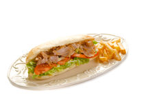 Kebap sandwich on dish. On white background Stock Images