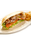 Kebap sandwich on dish. On white background Royalty Free Stock Photo