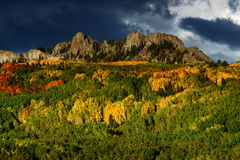 Kebler Pass In Autumn. Kebler pass outside of Crested Butte, Colorado shows off it's incredible Fall colors as Aspen trees come to live with teh changing of the Stock Photo