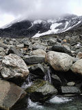 Kebnekaise. Glacier water running down the slope of Kebnekaise Royalty Free Stock Photo