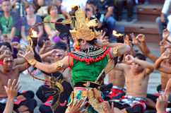 The Kecak Fire Dance at Uluwatu Temple, Bali, Indonesia Royalty Free Stock Images