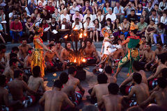 Kecak and Trance Dance at Dusk, Bali, Indonesia Stock Photos
