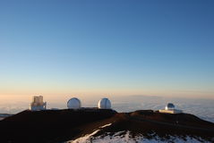 Keck Observatories at sunset stock image