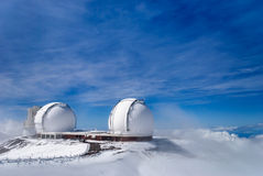 Keck Observatory Mauna Kea Hawaii Winter Snow Stock Images