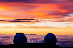 Keck observatory. Sunset on top of Mauna Kea on the Big Island with the Keck observatory in foreground Stock Photos